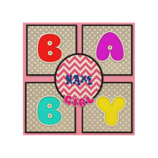 Baby Polka-Dot Chevron Square Wood Canvas Name Wood Canvases