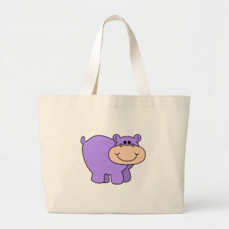 baby purple hippo large tote bag