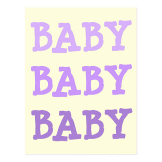 BABY Purple Lettering on Pale Yellow & Pink Dots Postcard