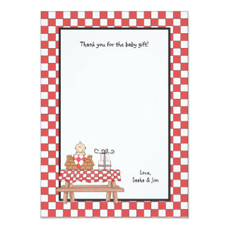 Baby Q Shower Thank You Note Stationery Card