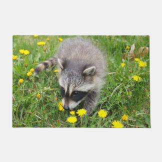 Baby raccoon door mat