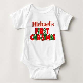 Baby Red and Green First Christmas Baby Bodysuit