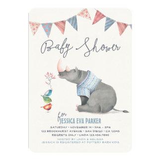 Baby Rhinoceros & Birdies Painted Boy Baby Shower 13 Cm X 18 Cm Invitation Card
