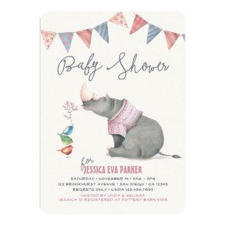 Baby Rhinoceros & Birdies Painted Girl Baby Shower 13 Cm X 18 Cm Invitation Card