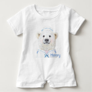 Baby Romper - baby bear sailor personalized Baby Bodysuit