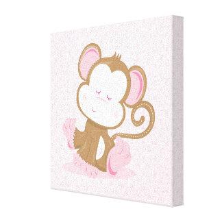 Baby Safari Pink Sleepy Monkey Nursery Art Gift Canvas Print