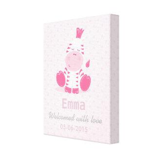 Baby Safari Pink Sleepy Zebra Nursery Art Gift Stretched Canvas Prints