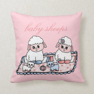 baby sheeps throw pillow