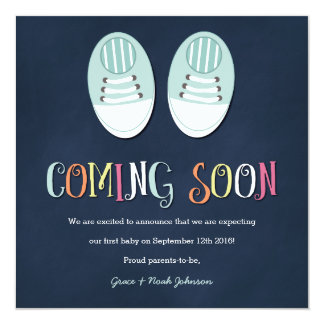 Baby Shoes Pregnancy Announcement in Navy
