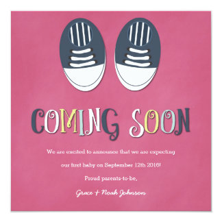 Baby Shoes Pregnancy Announcement in Pink