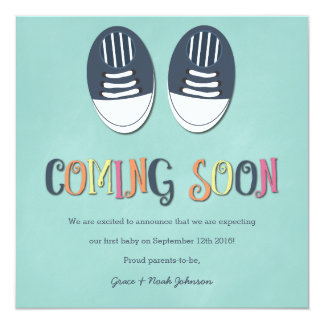 Baby Shoes Pregnancy Announcement in Teal