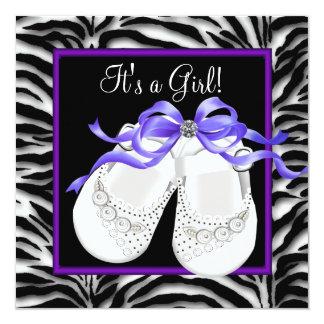 Baby Shoes Purple Zebra Baby Girl Shower Card