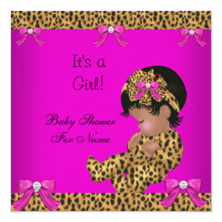 Baby Shower Baby Cute Girl Leopard Pink Gold 3 Card