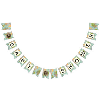 Baby Shower Banner -  Multicolor Map Theme