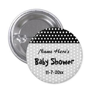 Baby Shower, Black and White Polka Dot Pattern. Pinback Button