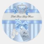 Baby Shower Boy Blue Little Prince Crown 3a Round Sticker