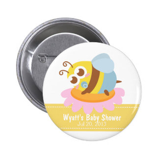 Baby Shower: Cute baby Bee resting on flower Button