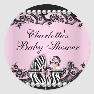 Baby Shower Cute Baby Girl Pink Zebra Lace Sticker