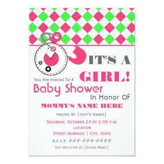 baby shower diaper pin pink green argyle 13 cm x 18 cm invitation