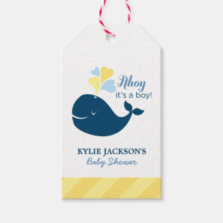 Baby Shower Favor Tags | Nautical Whale Theme Pack Of Gift Tags