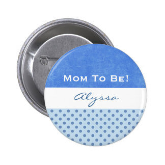 Baby Shower for Boy Blue Polka Dots Buttons
