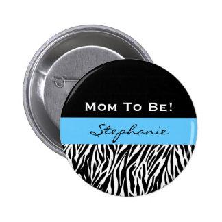Baby Shower for Boy Modern Zebra Print 6 Cm Round Badge