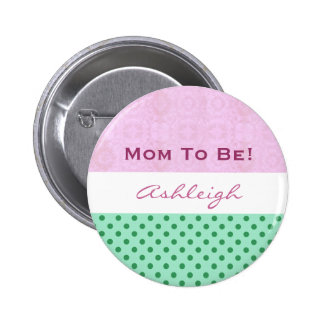 Baby Shower for Girl Pink Green Polka Dots Pins