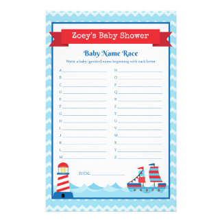 Baby Shower Game in Nautical Theme 14 Cm X 21.5 Cm Flyer
