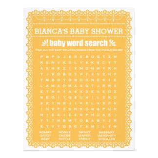 Baby Shower Game in Orange Papel Picado 21.5 Cm X 28 Cm Flyer