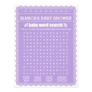 Baby Shower Game in Purple Papel Picado 21.5 Cm X 28 Cm Flyer