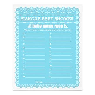 Baby Shower Games in Blue Papel Picado 11.5 Cm X 14 Cm Flyer