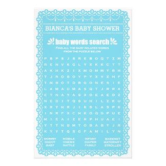 Baby Shower Games in Blue Papel Picado 14 Cm X 21.5 Cm Flyer