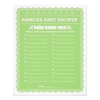 Baby Shower Games in Green Papel Picado 11.5 Cm X 14 Cm Flyer