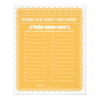 Baby Shower Games in Orange Papel Picado 11.5 Cm X 14 Cm Flyer