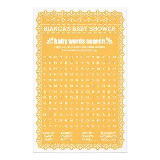 Baby Shower Games in Orange Papel Picado 14 Cm X 21.5 Cm Flyer