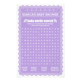 Baby Shower Games in Purple Papel Picado 14 Cm X 21.5 Cm Flyer