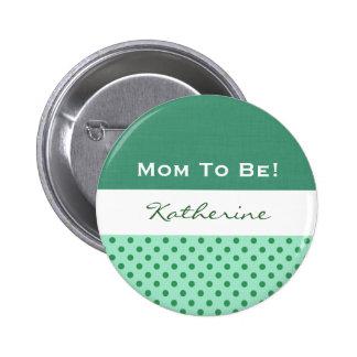 Baby Shower Gender Neutral Green Polka Dots Button