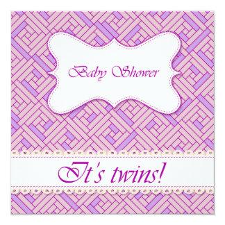 Baby shower geometric pattern lilac 13 cm x 13 cm square invitation card