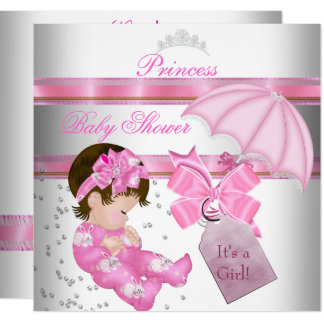 Baby Shower Girl White Pink Princess Tiara Card