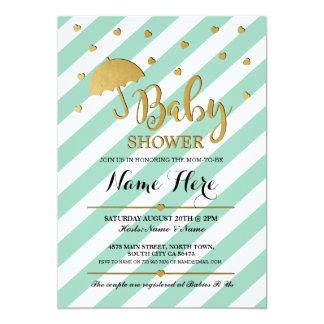 Baby Shower Gold Mint Umbrella Hearts Invite