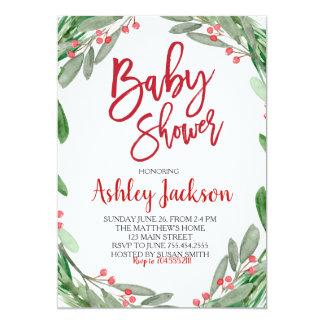 Baby Shower Greenery Wreath Invitation