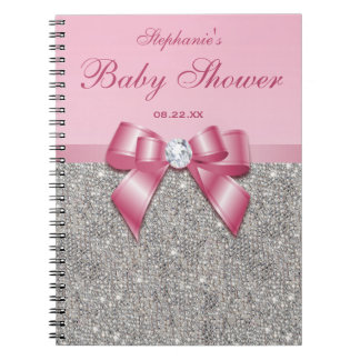 Baby Shower Guestbook Silver Sequins Pink Bow