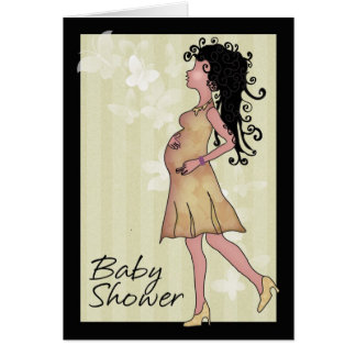 Baby shower in cream and brown greeting card