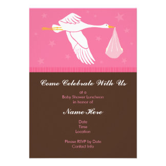 Baby Shower Invitation 5x7 - Pink and Brown