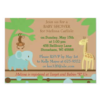 Baby Shower Invitation for Jungle or Zoo theme
