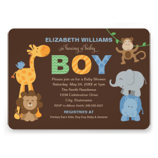 Baby Shower Invitation Jungle Animals for Boy