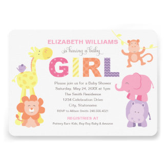 Baby Shower Invitation Jungle Animals for Girl