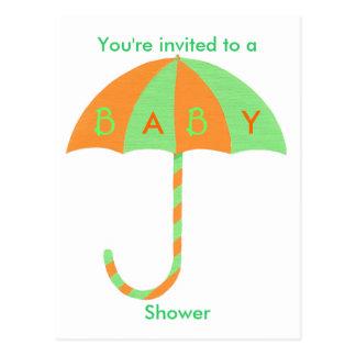 Baby Shower invitation, orange green umbrella Postcard