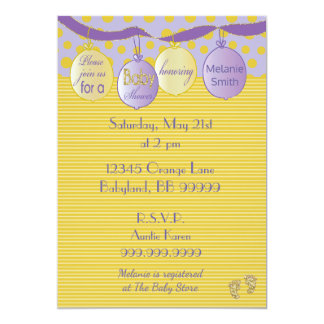 Baby Shower Invitation. Purple/Gold, Dots/Stripes Card
