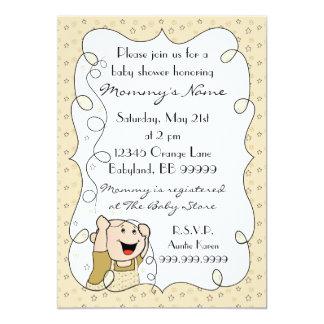 Baby Shower Invitation. Stars/Baby/Gold/Black Card